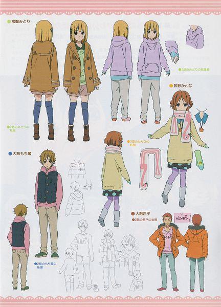Tags: Anime, Kyoto Animation, Tamako Market, Ooji Gohei, Makino Kanna, Tokiwa Midori, Ooji Mochizou, Official Art, Character Sheet, Scan, Mobile Wallpaper