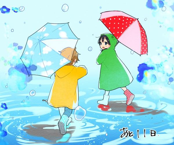 Tags: Anime, Momose (oqo), Tamako Market, Ooji Mochizou, Kitashirakawa Tamako, Rain Coat, Sky Print, Sky Umbrella, Pixiv