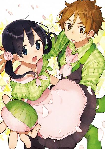 Tags: Anime, Momose (oqo), Tamako Market, Ooji Mochizou, Kitashirakawa Tamako, Onigiri, Green Legwear, Spring, Fanart From Pixiv, Fanart, Pixiv, Mobile Wallpaper