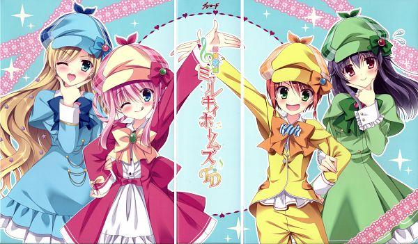 Tags: Anime, Tanihara Natsuki, NOMAD, J.C.STAFF, Tantei Opera Milky Holmes, Cordelia Glauca, Yuzurizaki Nero, Sherlock Shellingford, Hercule Barton, Scan, DVD (Source), Official Art, Wallpaper