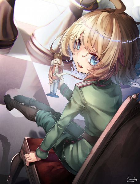 Tags: Anime, Saraki, Youjo Senki, Tanya Degurechaff, PNG Conversion, Mobile Wallpaper