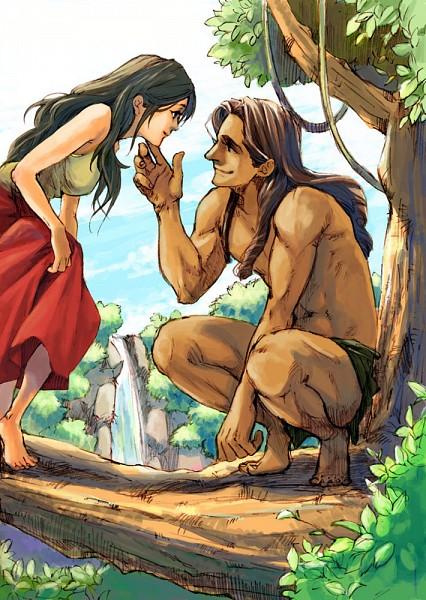 Tags: Anime, Pixiv Id 22063, Tarzan, Tarzan (Character), Jane Porter, Waterfall, Disney, Mobile Wallpaper