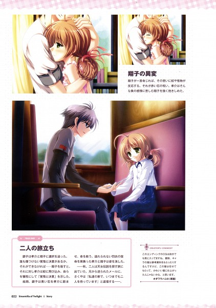 Tags: Anime, Odawara Hakone, Applique, Tasogare No Sinsemilla Official Visual Fanbook, Tasogare no Sinsemilla, Minagami Kousuke, Iwanaga Shouko