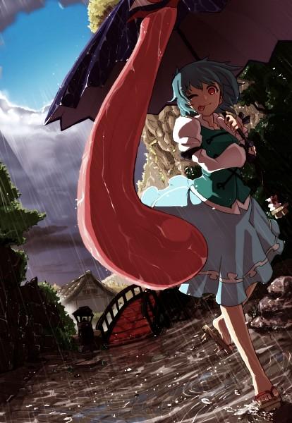 Tags: Anime, Murakami 4Ji, Touhou, Tatara Kogasa, Puddle, Long Tongue, Karakasa Obake, Mobile Wallpaper, Pixiv, Fanart From Pixiv, Fanart, Kogasa Tatara