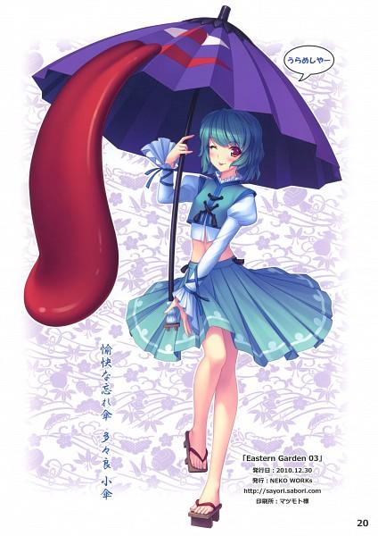 Tags: Anime, Sayori, Eastern Garden 03, Touhou, Tatara Kogasa, Blue Vest, Long Tongue, Wooden Sandals, Karakasa Obake, Mobile Wallpaper, Comic Market 79, Kogasa Tatara