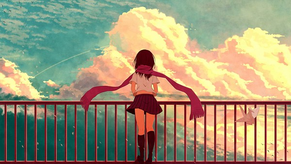 Tags: Anime, ehl, Kagerou Project, Tateyama Ayano, Origami, Roof, Fanart, Fanart From Pixiv, Facebook Cover, Pixiv