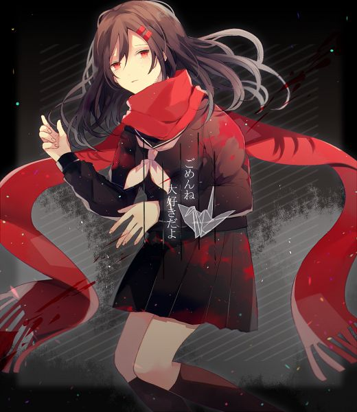 Tags: Anime, Pixiv Id 16423807, Kagerou Project, Tateyama Ayano, Floating Scarf, Origami, Fanart, Fanart From Pixiv, Pixiv