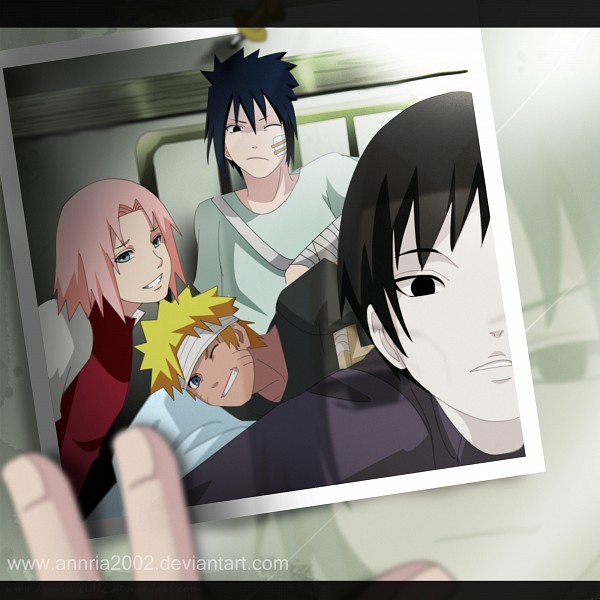 Tags: Anime, Annria2002, NARUTO, Sai, Uchiha Sasuke, Uzumaki Naruto, Haruno Sakura, Patient Outfit, Bandaged Head, Hospital, Arm Sling, Fanart, Fanart From DeviantART