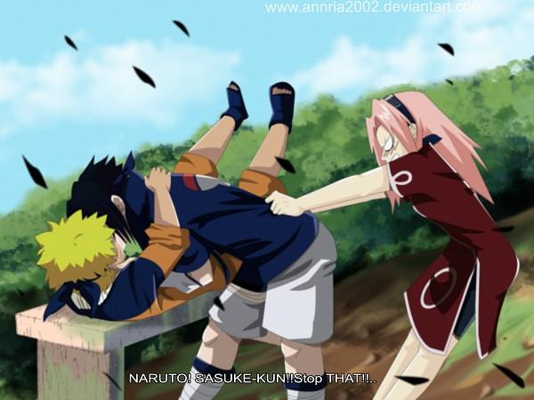 Tags: Anime, Annria2002, NARUTO, Uchiha Sasuke, Uzumaki Naruto, Haruno Sakura, Jealousy, deviantART, Fanart, Fake Screenshot, Team 7, NaruSasu