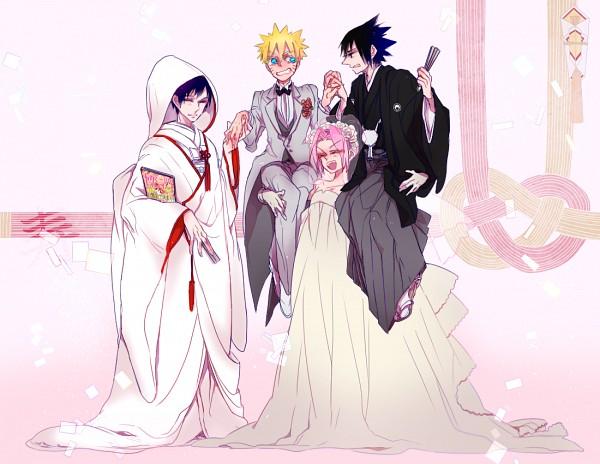 Tags: Anime, Pixiv Id 2051856, NARUTO, Haruno Sakura, Sai, Uchiha Sasuke, Uzumaki Naruto, Shiromuku, Japanese Wedding, Pixiv, Team 7