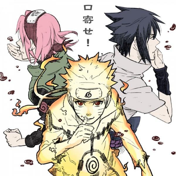 Tags: Anime, Shiho, NARUTO, Uchiha Sasuke, Uzumaki Naruto, Haruno Sakura, Kyuubi Mode, Gold Skin, Bijuu Mode, Pixiv, Fanart, Fanart From Pixiv, Team 7