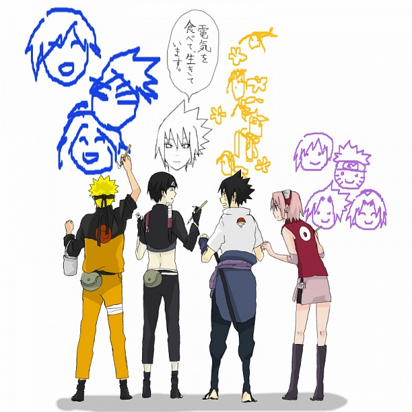 Tags: Anime, NARUTO, Uzumaki Naruto, Haruno Sakura, Sai, Uchiha Sasuke, Drawing (Action), Artist Request, Fanart From Pixiv, Fanart, GIF Conversion, Team 7