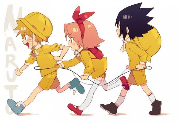 Tags: Anime, Pixiv Id 1415264, NARUTO, Uchiha Sasuke, Uzumaki Naruto, Haruno Sakura, Yellow Hat, Yellow Shorts, Pixiv, Fanart, Fanart From Pixiv, Team 7