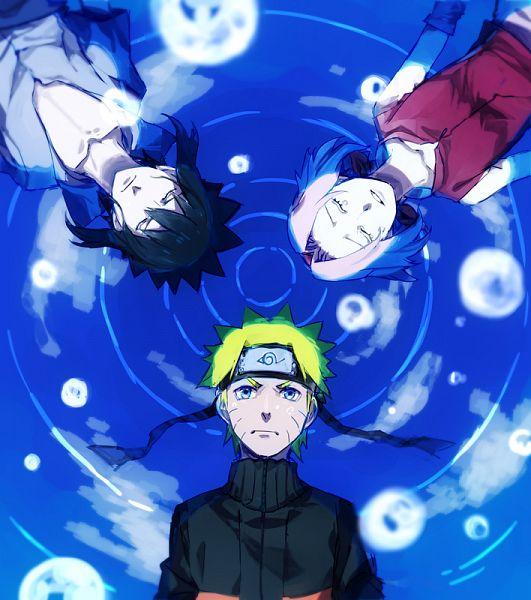 Tags: Anime, Pixiv Id 535163, NARUTO, NARUTO: SHIPPŪDEN, Haruno Sakura, Uchiha Sasuke, Uzumaki Naruto, Laying in Circle, Pixiv, Fanart, Fanart From Pixiv, Team 7