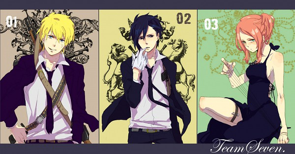 Tags: Anime, Aono Cmns, Naru (0w0bb), NARUTO, Uchiha Sasuke, Uzumaki Naruto, Haruno Sakura, Contemporary, Mafia, Biting Gloves, Pixiv, Fanart, Facebook Cover