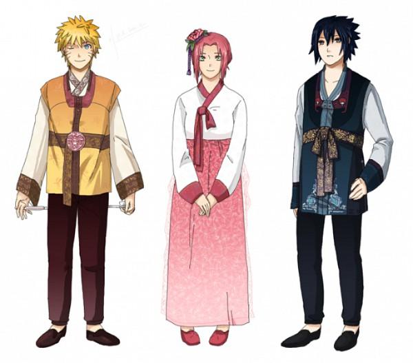 Tags: Anime, Ekoz, NARUTO, Uchiha Sasuke, Uzumaki Naruto, Haruno Sakura, Korean Clothes, Pixiv, Fanart, Jinchuuriki, Team 7