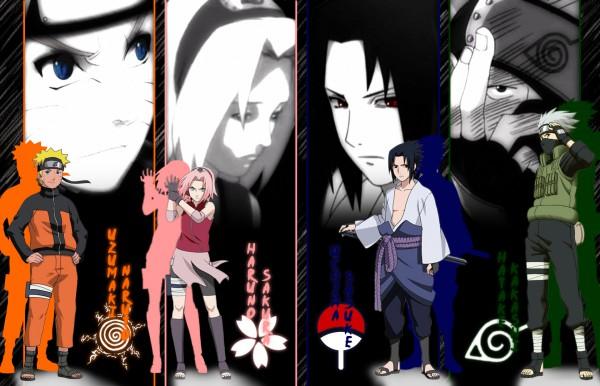 Tags: Anime, NARUTO, Hatake Kakashi, Uchiha Sasuke, Uzumaki Naruto, Haruno Sakura, Adjusting Gloves, Artist Request, Wallpaper, Team 7