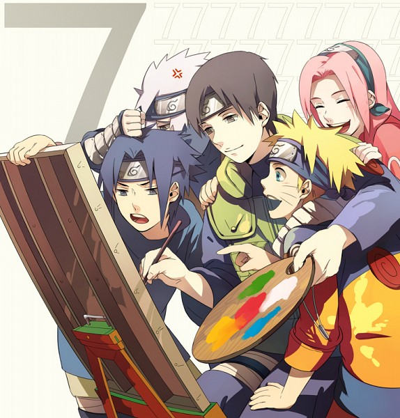 Tags: Anime, Min Tosu, NARUTO, Sai, Uchiha Sasuke, Uzumaki Naruto, Haruno Sakura, Hatake Kakashi, Canvas, Painting (Action), Palette (Object), Fanart, Pixiv