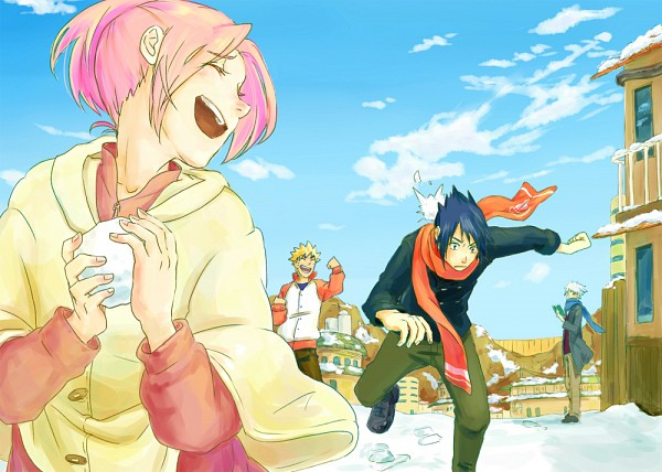 Tags: Anime, Pixiv Id 3178325, NARUTO, Uchiha Sasuke, Uzumaki Naruto, Haruno Sakura, Hatake Kakashi, Snowball, Pixiv, Fanart, Team 7, Jinchuuriki