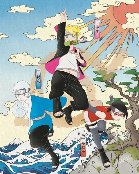 Tags: Anime, Pixiv Id 945559, BORUTO, NARUTO, Uzumaki Boruto, Uchiha Sarada, Mitsuki (NARUTO), Pixiv, Fanart, Fanart From Pixiv, PNG Conversion, Team Konohamaru