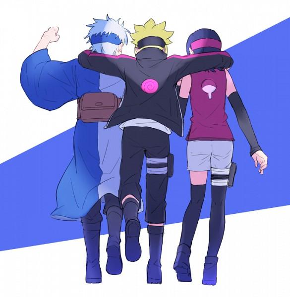 Tags: Anime, Warable, BORUTO, NARUTO, Uchiha Sarada, Mitsuki (NARUTO), Uzumaki Boruto, Uchiha Symbol, Fanart, Tumblr, PNG Conversion, Team Konohamaru