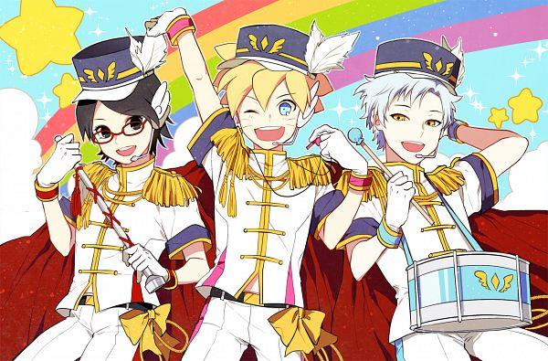 Tags: Anime, Pixiv Id 3536917, BORUTO, NARUTO, Uzumaki Boruto, Uchiha Sarada, Mitsuki (NARUTO), Izumi Iori (Cosplay), Drum, Band Uniform, Nanase Riku (Cosplay), Hat Feather, Whistle (Object)
