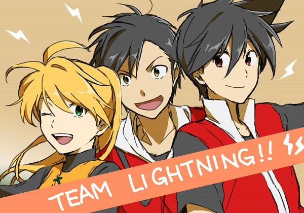 Tags: Anime, Kukuho, Pokémon SPECIAL, Pokémon, Red (Pokémon SPECIAL), Gold (Pokémon SPECIAL), Yellow (Pokémon Special), Text: Character Group Name, Pixiv, Fanart From Pixiv, Sketch, Fanart, Team Lightning