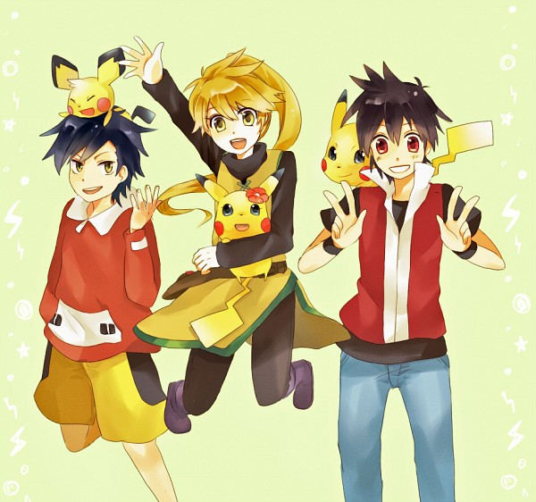 Tags: Anime, Pokémon SPECIAL, Pokémon, Pikachu, Red (Pokémon SPECIAL), Pichu, Gold (Pokémon SPECIAL), Yellow (Pokémon Special), Chuchu (Pokémon), Fanart From Pixiv, Pixiv, Artist Request, Fanart