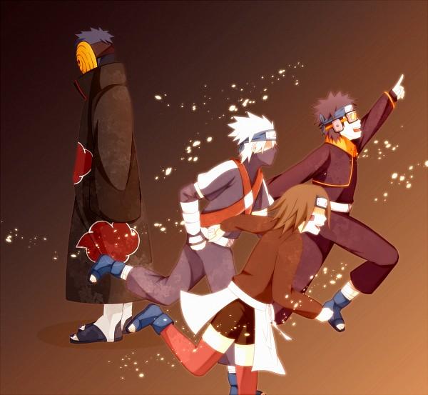 Tags: Anime, Zico (Artist), NARUTO, Hatake Kakashi, Uchiha Obito, Nohara Rin, Tobi, Orange Legwear, Fanart From Pixiv, Fanart, Pixiv, Akatsuki (NARUTO), Team Minato