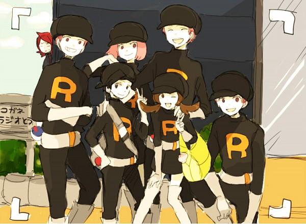 Tags: Anime, Tsuda, Pokémon, Silver (Pokémon), Kotone (Pokémon), Hibiki (Pokémon), Peeking, Team Rocket (Cosplay), Pokémon (Cosplay), Fanart, Fanart From Pixiv, Pixiv, Team Rocket