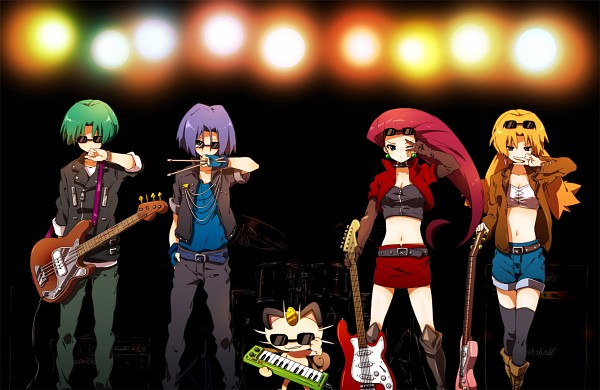 Tags: Anime, Sepia_harusame, Pokémon, Yamato (Pokémon), Kojirou (Pokémon), Kosaburou (Pokémon), Musashi (Pokémon), Meowth, Drum, Drumsticks, Multiplier, Yellow Jacket, Pixiv