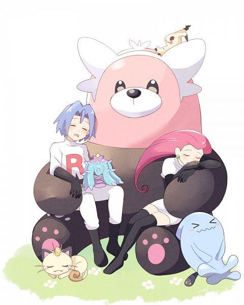 Tags: Anime, May (Pixiv Id 233774), Pokémon (Anime), Pokémon, Mimikyu, Kojirou (Pokémon), Musashi (Pokémon), Meowth, Mareanie, Bewear, Wobbuffet, Wallpaper, Fanart