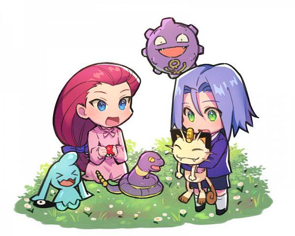 Tags: Anime, Apple Brk, Pokémon (Anime), Pokémon Ruby & Sapphire, Pokémon Red & Green, Pokémon, Kojirou (Pokémon), Ekans, Musashi (Pokémon), Wynaut, Meowth, Koffing, Sitting On Grass