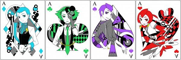 Tags: Anime, Pixiv Id 275229, Pokémon, Athena (Pokémon), Lance (Pokémon), Lambda (Pokémon), Apollo (Pokémon), Hat Over One Eye, Ace (Card), Clubs (Card), Spade (Card), Twitter Header, Pixiv