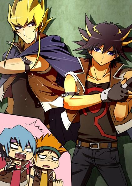 Tags: Anime, Yu-Gi-Oh!, Yu-Gi-Oh! 5D's, Kiryu Kyousuke, Crow Hogan, Jack Atlas, Yusei Fudo, O O, Mobile Wallpaper, Fanart, Artist Request, Team Satisfaction