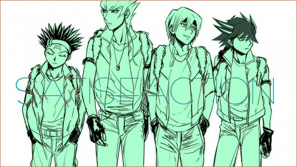 Tags: Anime, Pixiv Id 1653570, Yu-Gi-Oh! 5D's, Yu-Gi-Oh!, Kiryu Kyousuke, Crow Hogan, Jack Atlas, Yusei Fudo, Text: Character Group Name, Pixiv, Sketch, Fanart, Fanart From Pixiv