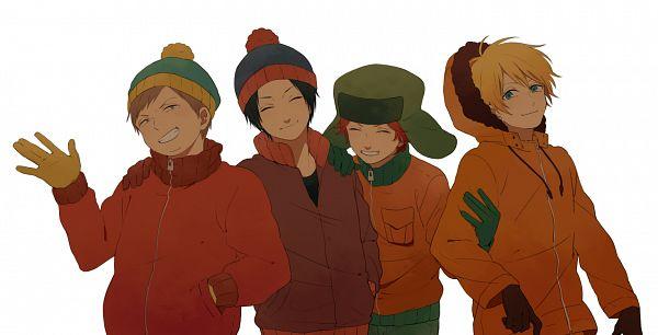 Tags: Anime, Annaa, South Park, Eric Theodore Cartman, Kyle Broflovski, Kenneth McCormick, Stanley Randall Marsh, Ushanka, Yellow Gloves, Green Gloves, Pixiv, Fanart, Facebook Cover