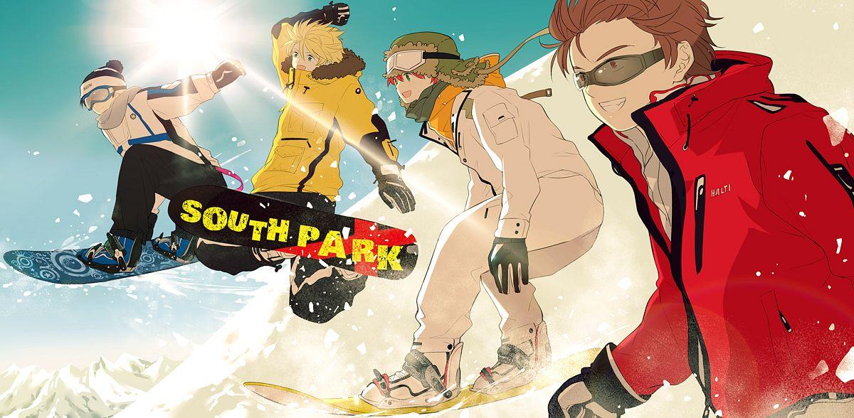 Tags: Anime, Saru (Pixiv1267140), South Park, Stanley Randall Marsh, Eric Theodore Cartman, Kyle Broflovski, Kenneth McCormick, Snowboard, deviantART, Facebook Cover, Fanart, Fanart From DeviantART, Team Stan