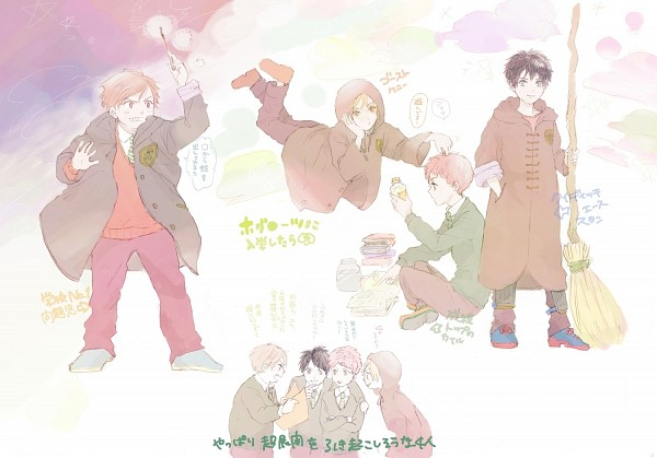 Tags: Anime, Pixiv Id 1503973, South Park, Harry Potter, Kenneth McCormick, Stanley Randall Marsh, Eric Theodore Cartman, Kyle Broflovski, Spellbook, Harry Potter (Cosplay), Fanart, Pixiv, Team Stan