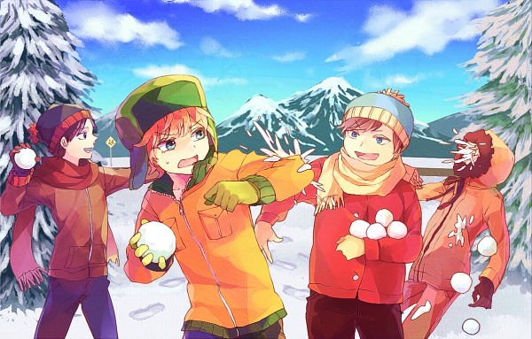 Tags: Anime, Pixiv Id 8701572, South Park, Eric Theodore Cartman, Kyle Broflovski, Kenneth McCormick, Stanley Randall Marsh, Brown Jacket, Pine Tree, Orange Jacket, Snowball, Parka, Orange Outerwear