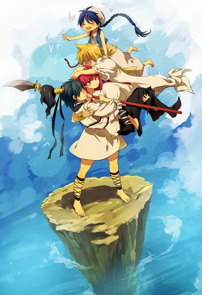 Tags: Anime, Nuriko-kun, MAGI: The Labyrinth of Magic, Aladdin (Magi), Ren Hakuryuu, Morgiana, Ali Baba Saluja, Pixiv, Fanart, Mobile Wallpaper, Team Zagan