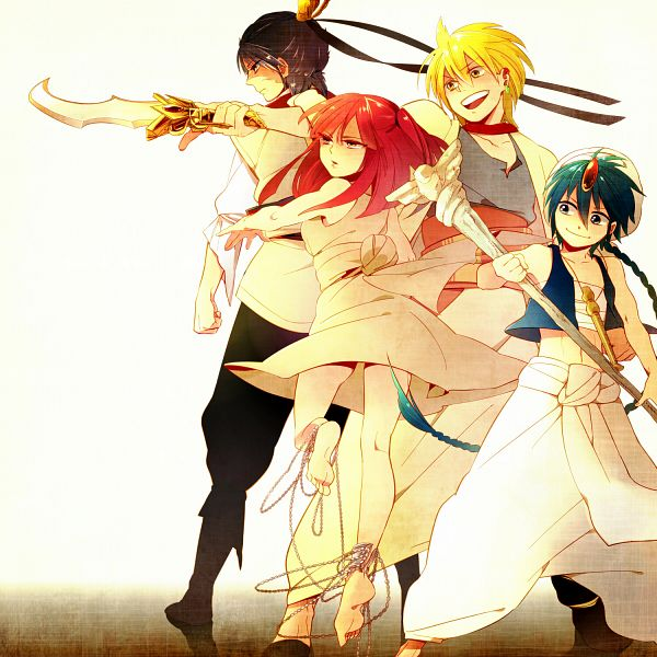 Tags: Anime, Kgr Paipooo, MAGI: The Labyrinth of Magic, Aladdin (Magi), Ren Hakuryuu, Morgiana, Ali Baba Saluja, Shackles, Fanart, Pixiv, Team Zagan