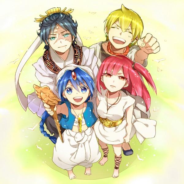 Tags: Anime, Ichinose777, MAGI: The Labyrinth of Magic, Ren Hakuryuu, Morgiana, Ali Baba Saluja, Aladdin (Magi), Pixiv, Fanart, Team Zagan
