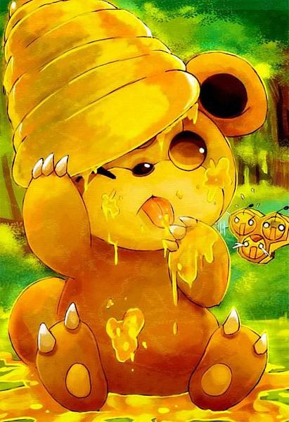 Tags: Anime, suikuzu, Pokémon, Combee, Teddiursa, Licking Finger Tip, Honey, Mobile Wallpaper