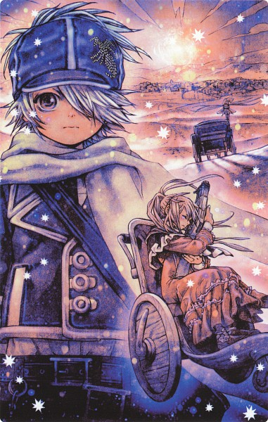 Tags: Anime, Asada Hiroyuki, Tegami Bachi, Niche, Lag Seeing, Steak (Tegami Bachi), Sylvette Suede, Official Art, Scan, Mobile Wallpaper, Manga Color, Letter Bee