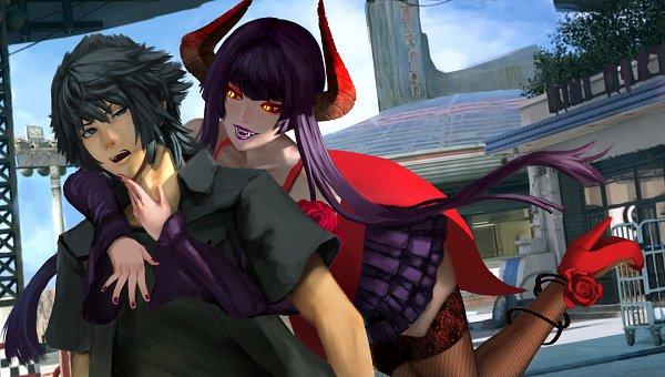 Tags: Anime, Jacky Lau, Final Fantasy XV, Tekken, Noctis Lucis Caelum, Eliza (Tekken), Purple Lips, Fanart