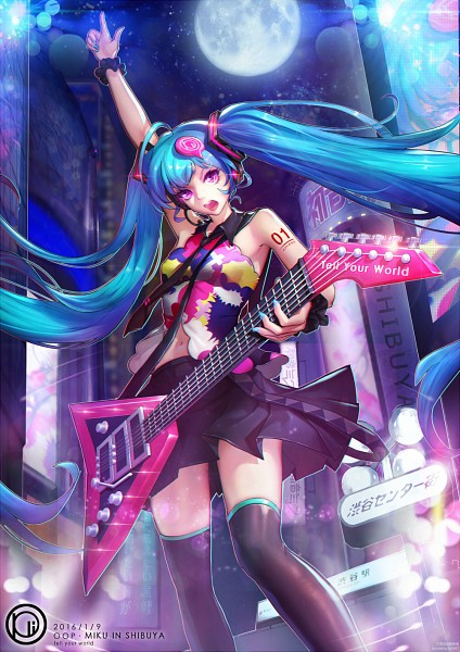 Tags: Anime, Pixiv Id 8578155, VOCALOID, Hatsune Miku, Tie Clip, Electric Guitar, Guitar Strap, Mobile Wallpaper, Tell Your World, Fanart