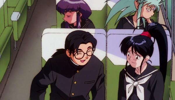 Tags: Anime, Kajishima Masaki, Geneon Pioneer, Anime International Company, Tenchi Muyo! Ryo-Ohki, Nobuyuki Masaki, Hakubi Ryouko, Achika Masaki, Masaki Aeka Jurai, Bus Interior, Bus, Scan, Screenshot