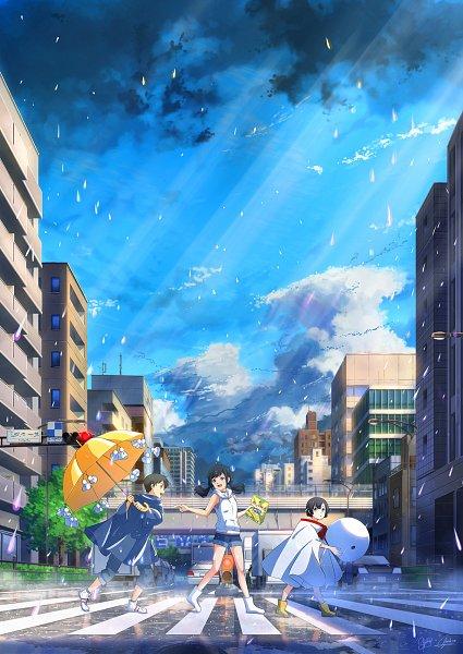 Tags: Anime, NIK, Tenki no Ko, Amano Hina (Tenki no Ko), Amano Nagi, Morishima Hodaka, Crosswalk, Teru Teru Bouzu, Traffic Light, Yellow Umbrella, Fanart From Pixiv, Pixiv, Fanart, Weathering With You