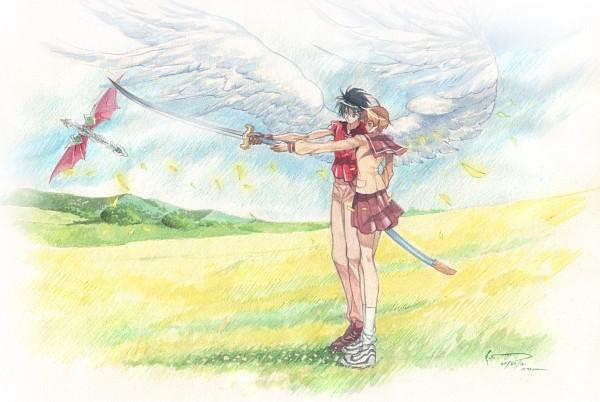 Tags: Anime, Nick-lan, Tenkuu no Escaflowne, Kanzaki Hitomi, Escaflowne, Van Fanel, Side by Side, Fanart, deviantART, Fanart From DeviantART, Guymelef, The Vision Of Escaflowne